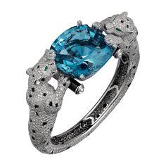 High Jewelry Panthère de CartierCartier Royal bracelet, platinum, one 65.93 carat cushion-cut aquamarine, onyx, emerald eyes, brilliant-cut diamonds.