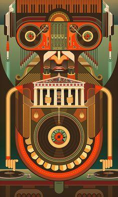 Habeat Records Robot by Prop4g4nd4. #dj #djart #djculture #music #musicart #artwork http://www.pinterest.com/TheHitman14/dj-culture-vinyl-fantasy/