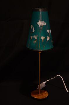 Handmade lamp. Metal,wood, paper, laminated natural flowers