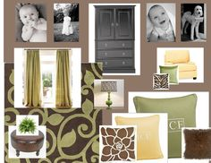 color palate...buttery yellow, sage grass green, warm/cool browns ...