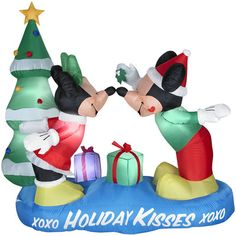 CHRISTMAS DISNEY MICKEY MOUSE MINNIE HOLIDAY KISSES XOXO INFLATABLE GEMMY NEW