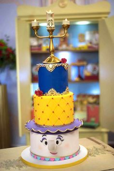 """On the lookout for a magical event? The Beast is roaring with joy, over this fab """"Be Our Guest"""" Beauty and the Beast Birthday Party at Kara's Party Ideas Beauty And The Beast Cake Birthdays, Beauty And Beast Birthday, Beauty And The Beast Theme, Beauty And Beast Wedding, Disney Beauty And The Beast, Dad Birthday Cakes, Birthday Parties, Belle Birthday Cake, 5th Birthday"""