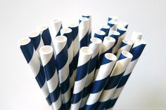 """Stripe Navy Paper Straws - great for Navy Blue themed weddings, birthdays and anytime you need to add some colors and love to your party or get together!Pack of 25 - Navy Striped Pattern Paper drinking traws7 3/4"""" long Food safe & FDA Approved Earth Friendly & Bio-degradable Thickest Strongest Most Durable Made in USA $4.00"""
