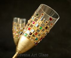 Wedding Glasses, Champagne Glasses, Champagne Flutes, Gatsby Wedding, Playing Card Glasses, Hand Painted, Set of 2