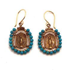 Andrea Barnett Bronze Metal and Turquoise Earrings at Maverick Western Wear
