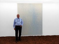 Famous gallerist IRVING BLUM visiting LUCIEN SMITH's Rain Painting show at the OhWow Gallery, Los Angeles. Photo Bill Powers