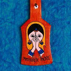 Key Holder Namaste India Red #keyholder #handpainted #homedecor #india #red #namaste #handcrafted #homeimprovement