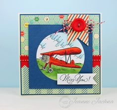 Jeanne Jachna: A Kept Life – SSCB #29 Stitches - Airplane - 3/9/14.  (Stamps:  Serendipity Airplane, Miss You!  Dies: Lil Inker Stitched Squares, Stitched Circles, Flags & Tags).