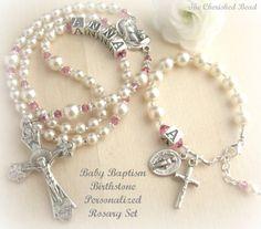 Católica bebé niña bautismo personalizada Birthstone pequeño