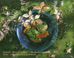 """""""Still Life on Moss"""" by Liz Patterson, colored pencil on Pastelbord."""