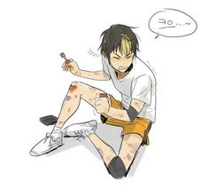 Nishinoya and all his bruises and injuries :(  -  Haikyuu!! Karasuno Yuu Nishinoya