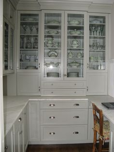 Have asked our cabinet guy to design in a built in china cabinet (like the center section with glass doors, like you'd find in a butler's pantry) -- it will be in hickory with granite counter tops.
