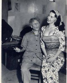 Harpo Marx and Juli Lynne Charlot (inventor of the poodle skirt)