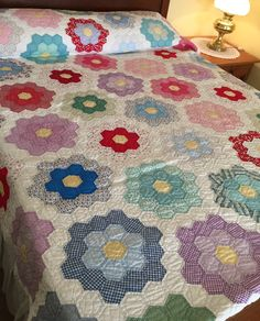 Grandmother's Flower Garden Quilt, Vintage Hand Quilted, White Yellow Cotton Prints and Solids, 72 in x 84 inch