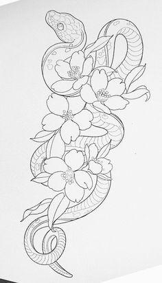 Dope Tattoos, Pretty Tattoos, Body Art Tattoos, Small Tattoos, Sleeve Tattoos, Tattoo Outline Drawing, Outline Drawings, Dragon Tattoo Outline, Snake Outline