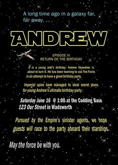Outer Space Star Wars Birthday Party Invitations Templates