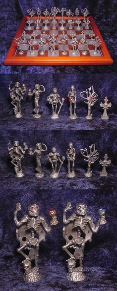 Large Pewter Skeleton chess set with crystals/Board with Storage 3d Chess, Chess Sets, Skeleton, Pewter, Board Games, Squares, Swarovski Crystals, Master Cleanse, Cleanse Detox
