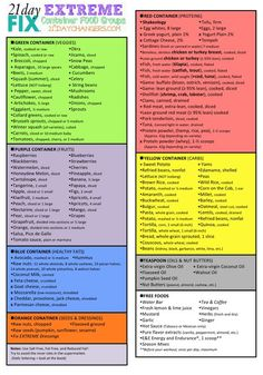 Container Food Groups 21 Day Fix Extreme Hello Changers! I wanted to make an easy cheat-sheet that you can print and make your shopping list a little bit easier to make! Here is a link so you can print it: Container Food Groups 21 … 21 Day Fix Extreme, Extreme Food, Extreme Fitness, 21 Day Fix Diet, 21 Day Fix Meal Plan, 21 Day Fix Foods, 21 Day Fix Snacks, 21 Day Fix Menu, Beachbody 21 Day Fix