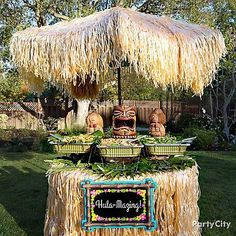 Host a Luau feast with a tropical setting! Put up a Hawaiian Thatch Umbrella Cover, plus a Natural Raffia Table skirt for a complete island look. Add in a Coconut Guitar Man and Coconut Maraca Woman to spice up the decor!