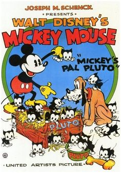 Walt Disney's Mickey's Pal Pluto comic featuring kittens Mickey Mouse Vintage, Disney Vintage, Vintage Disney Posters, Retro Disney, Vintage Cartoons, Disney Movie Posters, Classic Movie Posters, Cartoon Posters, Vintage Poster