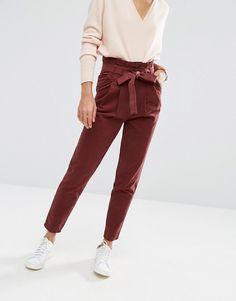 Изображение 4 из Прямые брюки с присборенной завышенной талией ASOS