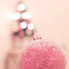 Pink glitter Christmas ball - this christmas Little Christmas, All Things Christmas, Vintage Christmas, Christmas Holidays, Christmas Bulbs, Christmas Decorations, Holiday Decor, Xmas, Christmas Christmas
