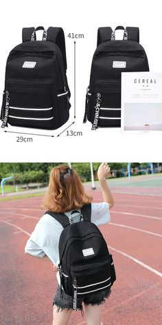 New Double USB Interface Large College Canvas Backpack White Stripe Waterproof Student Bag Backpack Straps, Backpack Purse, Leather Backpack, Leather Wallet, Fashion Backpack, College Canvas, College Bags, Cool Backpacks, College Backpacks