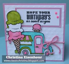 I've been waiting for June to get here so my customers can get their hands on this adorable Stamp of the Month!!  I love ice cream. . .i...