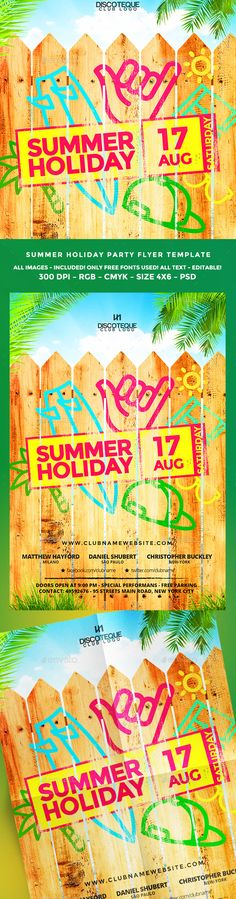 Summer Party Modello di volantino, Piscine e Feste estive - holiday party flyer template
