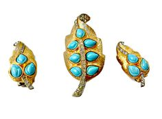Turquoise and Rhinestone Brooch and Earrings by EclecticVintager