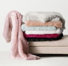 RH TEEN's Kashmir Faux Fur Throw:Wildly chic. Long, luxe and deep enough to sink into, our sublime Kashmir faux fur pairs an astonishingly natural feel with a couture color palette. Each piece reverses to silky-soft fleece for exceptional weight and warmth.