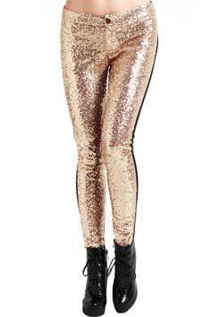 Golden Sequined Black Leggings #ROMWE