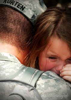 The moment I got to run into my Dad's arms when he came home, I will never forget <3