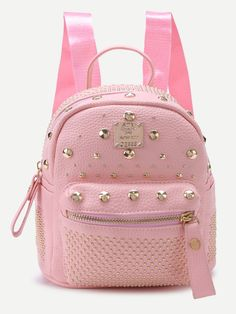 00477193e5 Shop Pink Pebbled PU Studded Front Zipper Backpack online. SheIn offers Pink…  Tote Bags
