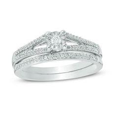 1/5 CT. T.W. Diamond Split Shank Bridal Set in 10K White Gold - Save on Select Styles - Zales