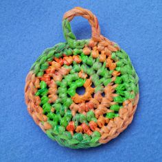 Green and Orange Plarn Dish Scrubby recycled Babies R by plarnstar