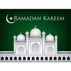 Vector Ramadan Greeting card With Green background
