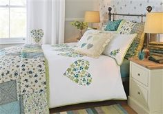 Embroidered Hearts Bed Set