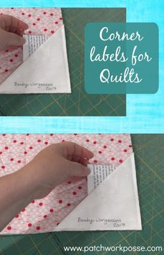 Corner labels for quilts. Learn how to make them with a square of fabric! Video tutorial shows you step by step.