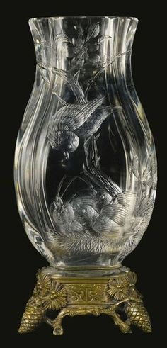 Cristallerie De Baccarat A Japonisme Silvered Bronze Mounted Cut Crystal Vase France, Late Century. The front decorated with a bird feeding its nestlings, stamped with the circular Baccarat logo. Baccarat Crystal, Crystal Glassware, Crystal Vase, Art Of Glass, Cut Glass, Cristal Art, Glass Engraving, Bronze, Glass Etching