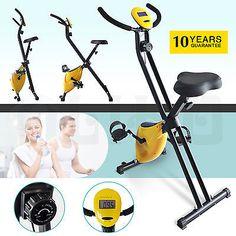 Upright Stationary Exercise Bike Magnetic Folding Bicycle Trainer Machine
