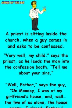 """A man confesses his """"sins"""" to his priest – Jokes Of The Day What's April why is it a … Funny Long Jokes, Funny Jokes For Adults, Funny Quotes, Hilarious, Funny Riddles, Stupid Jokes, Funny Memes, Funny Comebacks, Priest Jokes"""