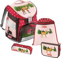 Wunderhübscher Schulranzen für Mädels mit Pünktchen Reh Rosa Step by Step Light Schulranzen-Set 4-tlg. Lovely Deer