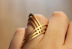 """""""Tribal Matters"""" ring in 18k gold plate, satin finished. $144"""