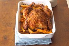 Crispy Roast Chicken with Sweet Potatoes