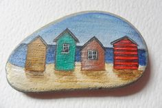 Beach huts in Summer - Original miniature painting on English beach slate