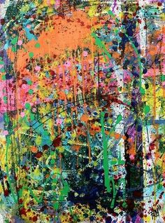 Shredded Hues - 2011 original abstract painting acrylic colorful texture art