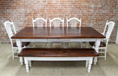 7' x 44%22w Pine. Wide board top. Very rustic. Snow White base. Hand crafted by the team at ECustomFinishes.com, artisan makers of farm tables and reclaimed wood furniture.