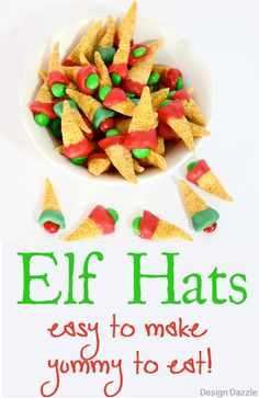 Edible Elf Hats! I love having my kids in the kitchen helping to create yummy and easy edible snacks. A fun treat for Elf movie night or school parties. Design Dazzle #ediblecrafts #christmastreats