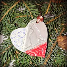 Quilted Heart Shaped Cat Holiday Ornament Handmade by JSBArts